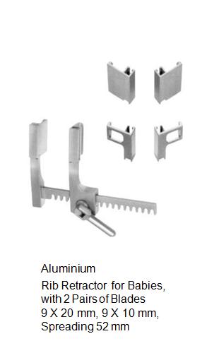 Rib Retractor, Aluminium, with 2 pairs of blades 9 x 20 mm, 9 x 10 mm, spreading 52 mm مباعد ضلوع للاطفال