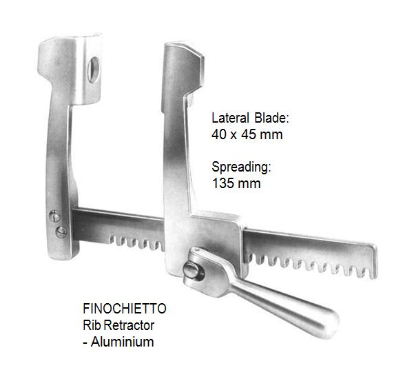 Finochietto, Rib Retractor, lateral blades 40 x 45 mm, spreading 135 mm, Aluminium  مباعد ضلوع