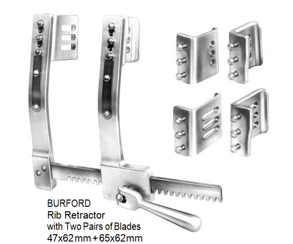 Burford, Rib Retractor, with two pairs of blades 47 x 62 mm + 65 x 62 mm spreading 200 mm, Aluminium  مباعد ضلوع