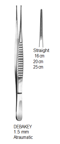 DeBakey Vascular Forceps,1.5 mm, Atraumatic,16 cm جفت ديبكي مستقيم
