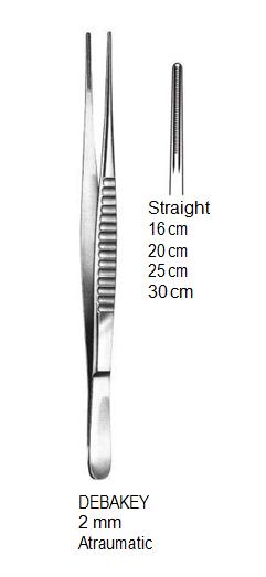 DeBakey Vascular Forceps, Straight, 2 mm, Atraumatic, 16 cm جفت دبيكي مستقيم