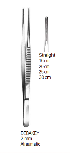 DeBakey Vascular Forceps, Straight, 2 mm, Atraumatic, 20 cm جفت دبيكي مستقيم