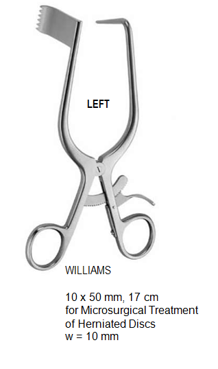 Williams Retractor, for microsurgical treatment of herniated discs, Left, 10 x 50 mm, 17 cm مباعد ذاتي انجليزي