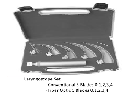 Laryngoscope Fiber optic 5 blades (0.1.2.3.4) منظار حنجرى 5 سلاح فايبر اوبتك انجليزي SNAA