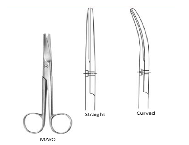 Mayo dissecting  Scissors curved \ blunt 18 cm  مقص مايوانجليزي SNAA