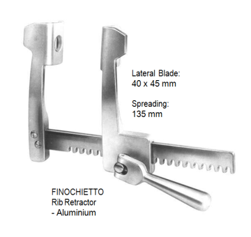 Finochietto, Rib Retractor, lateral blades 40 x 45 mm, spreading 135 mm, Stainless Steel