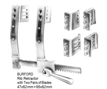 Burford, Rib Retractor, with two pairs of blades 47 x 62 mm + 65 x 62 mm spreading 260 mm, Aluminium   مباعد ضلوع