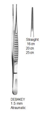 DeBakey Vascular Forceps,1.5 mm, Atraumatic,16 cm