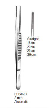 DeBakey Vascular Forceps,1.5 mm, Atraumatic,25cm