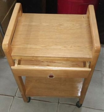 طاولةة خشب زان رفين + درج