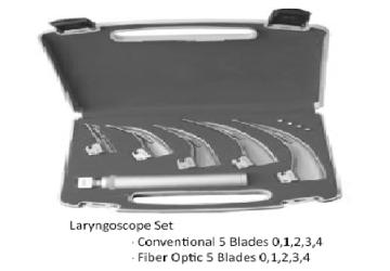 Laryngoscope conventional 5 blades (0.1.2.3.4) منظار حنجرى 5سلاح عادى  انجليزي SNAA