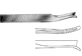 Silver (Frenchay) Nasal Chisel left 18cm تشيزل قاطع عظام الانف ( جارد استيتوم ) منحنى جهة اليسار 18 سم انجليزي SNAA