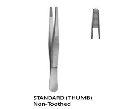 Tissue forceps standard (Thumb) non toothed 14 cmجفت اوعية بدون سن انجليزي SNAA