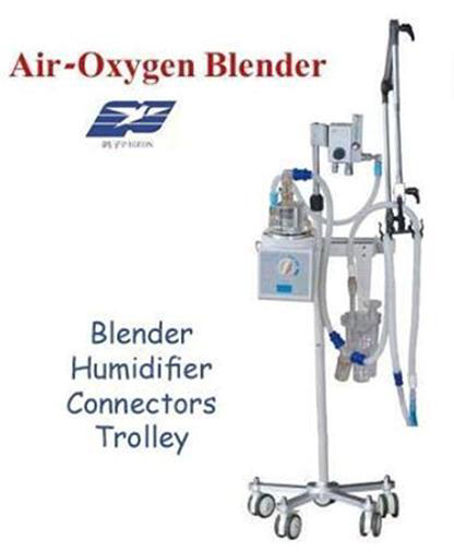 Blender CPAP Air-Oxygen Blender - PigeonBlender + Humidifier + Connectors + TrolleyChina