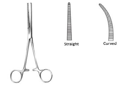 Haemostatic forceps Kocher 1X2 teeth  curved 18 cm انجليزي SNAA كوخر