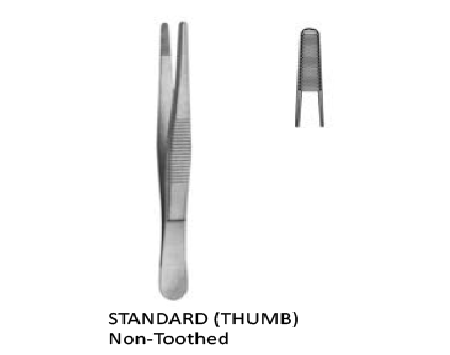 Tissue forceps standard (Thumb) non toothed 18 cm  جفت اوعية بدون سن انجليزي SNAA