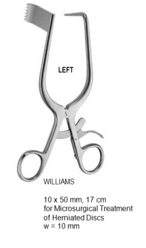 Williams Retractor, for microsurgical treatment of herniated discs, Left, 10 x 50 mm, 17 cm